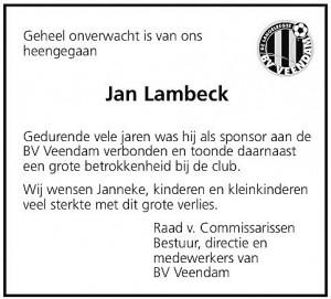 Scan overlijdensadvertentie Jan Lambeck uit het DvhN van 11 juni 2009